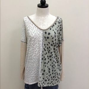 NWT Bibi Top Beige  Animal Print ColorBlock V neck